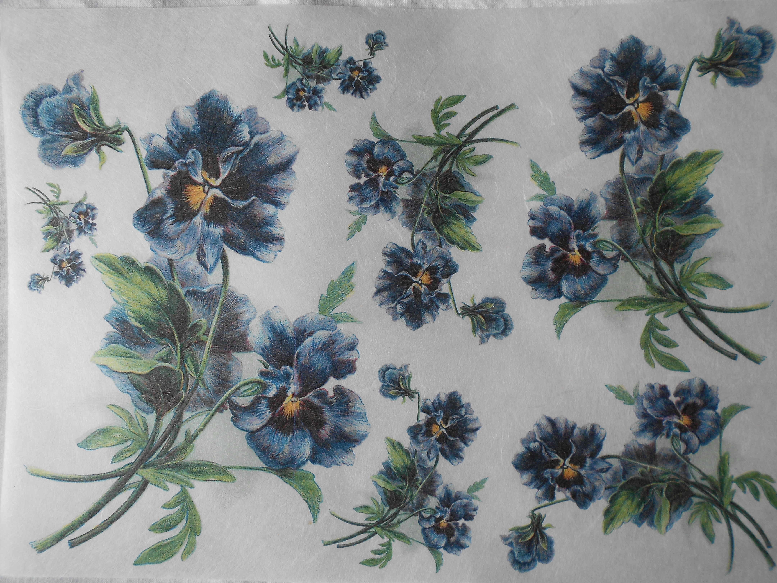 Dark Blue Pansies Violets Decoupage Rice Paper Decoupage