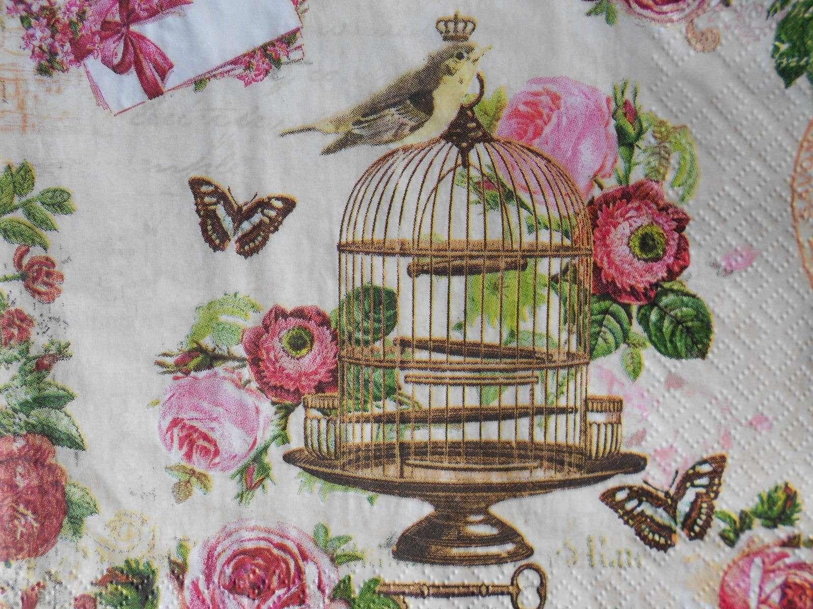 Vintage Roses Bird Cage Decoupage Paper Napkins Decoupage Paper
