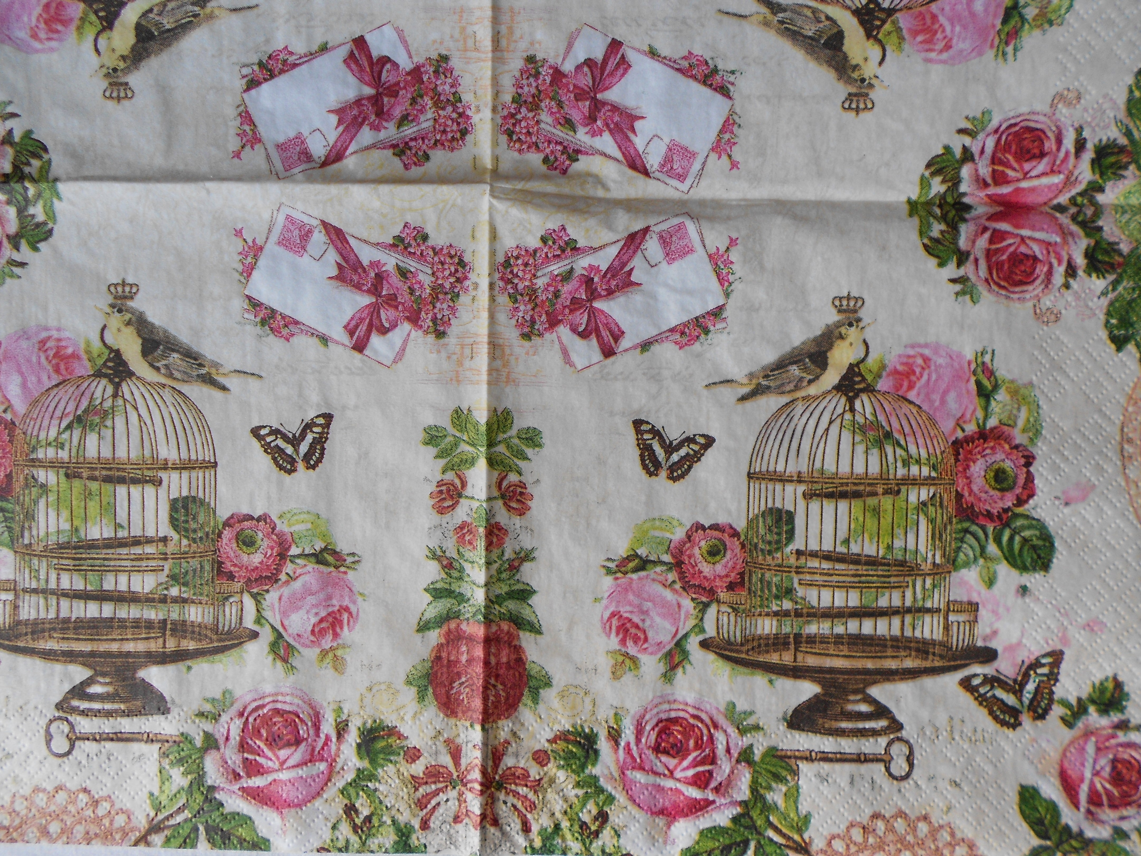 Vintage Roses Bird Cage Decoupage Paper Napkins