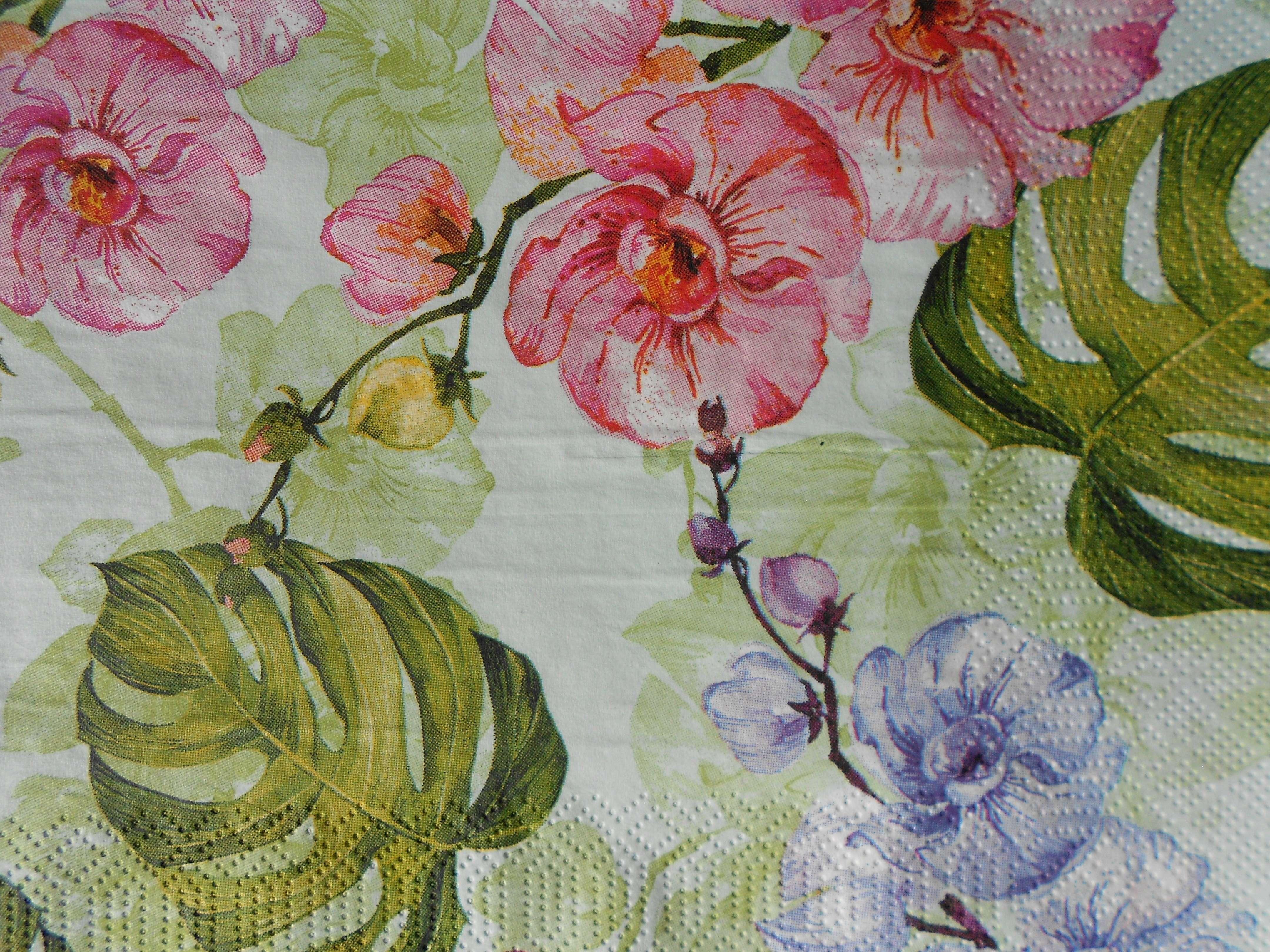 Pink Blue Orchid Wallpaper Decoupage Paper Napkins Decoupage Paper