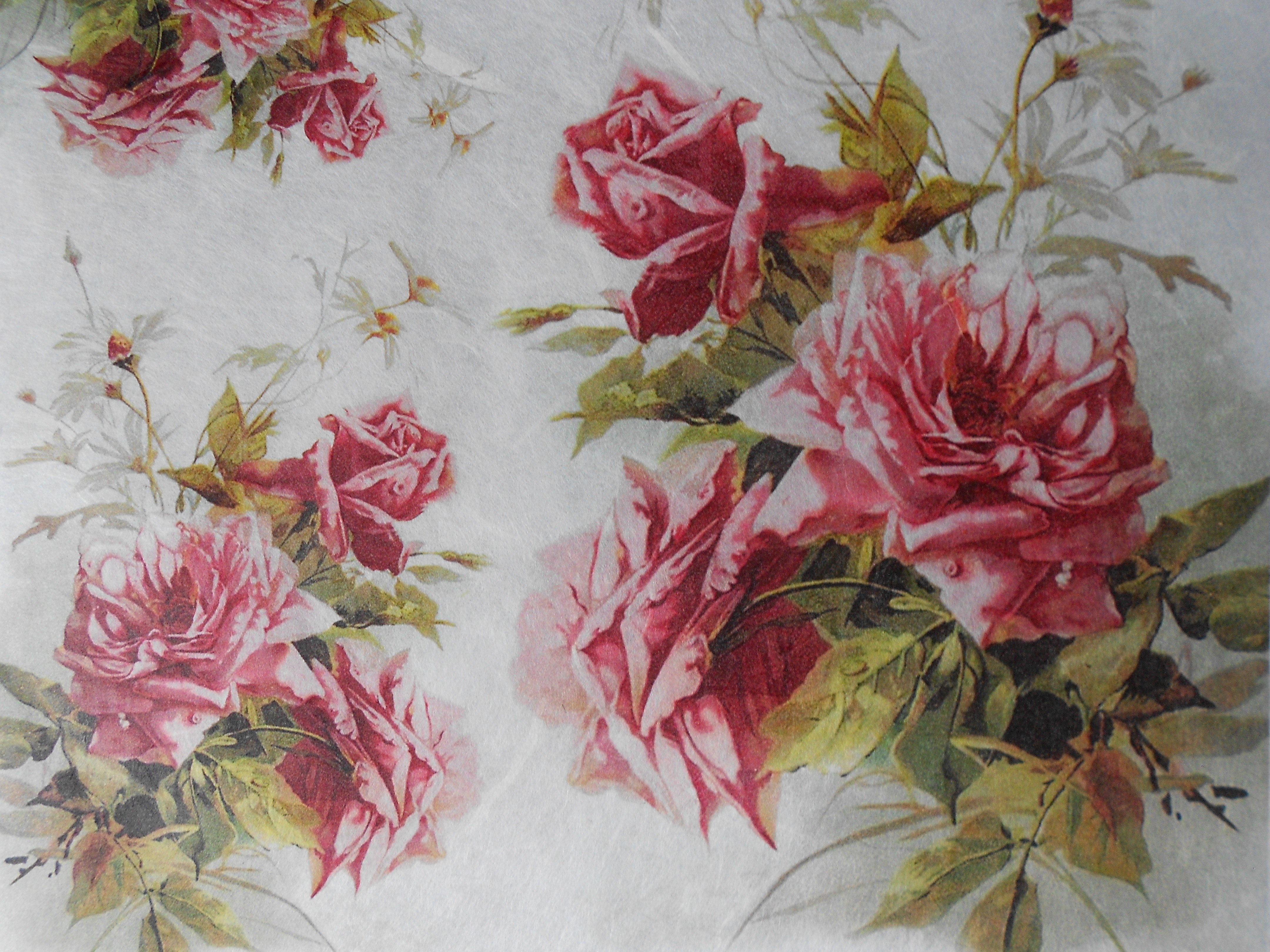 Pink Roses White Daisies Bouquet Decoupage Rice Paper