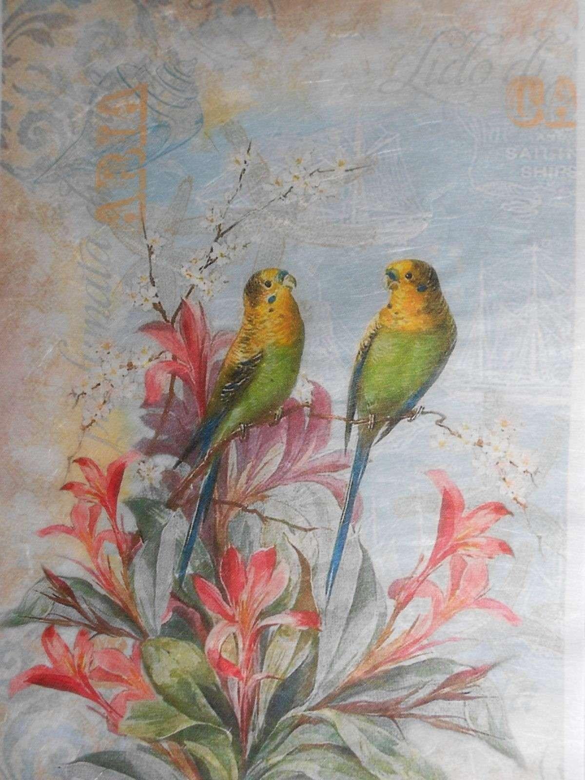 Green Yellow Canary Birds Decoupage Rice Paper Decoupage