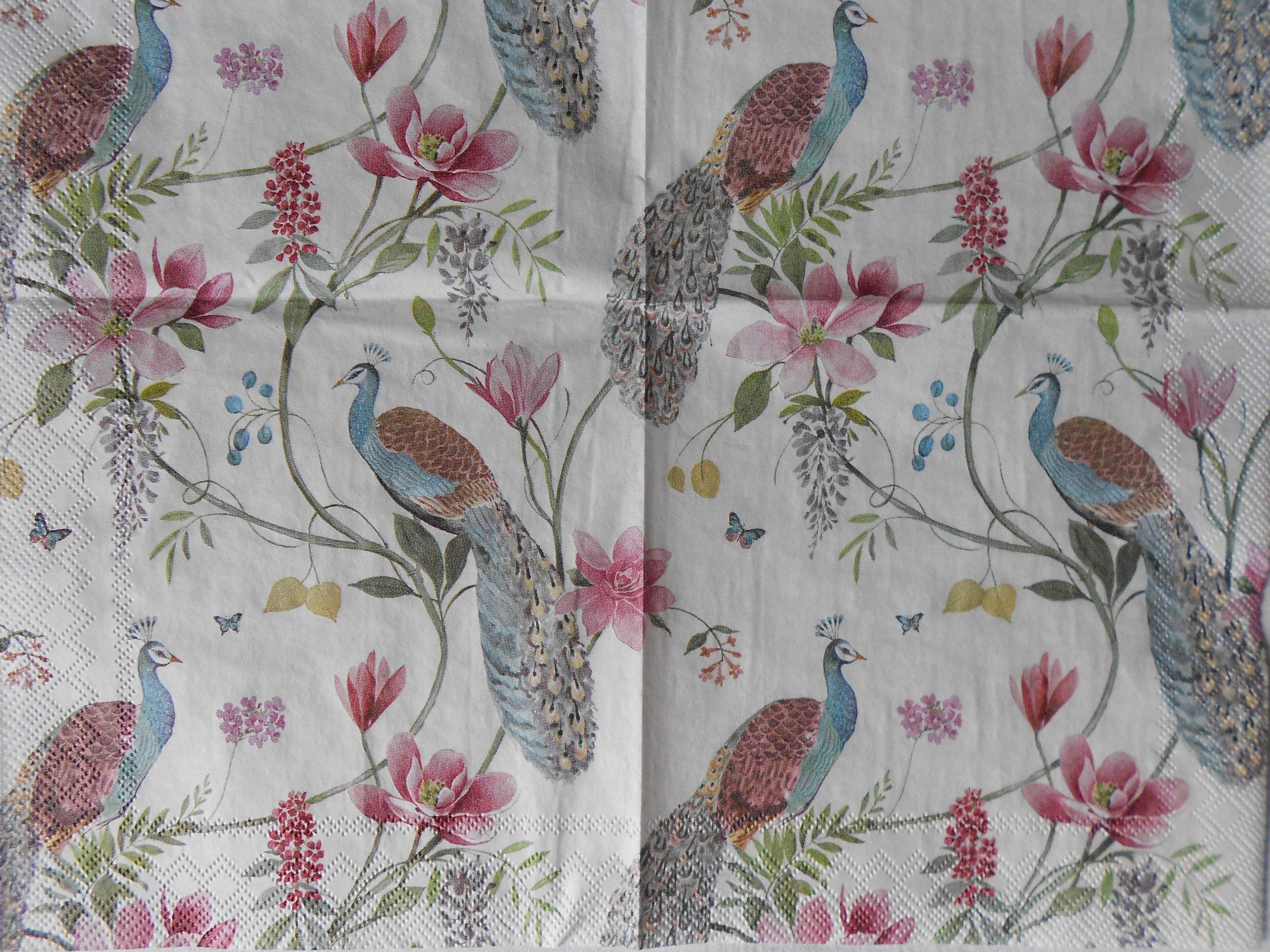 Peacocks Flowers Wallpaper Decoupage Napkins Decoupage Paper
