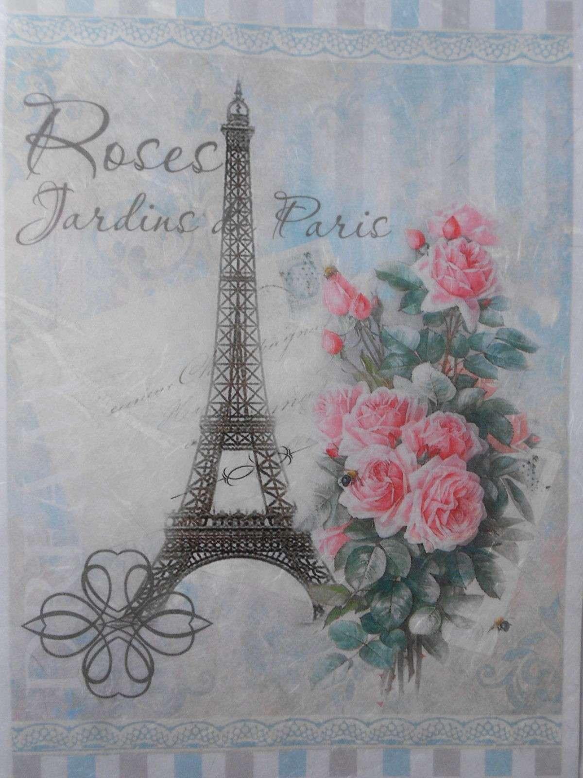 Paris Pink Roses Jardins Letter Decoupage Rice Paper
