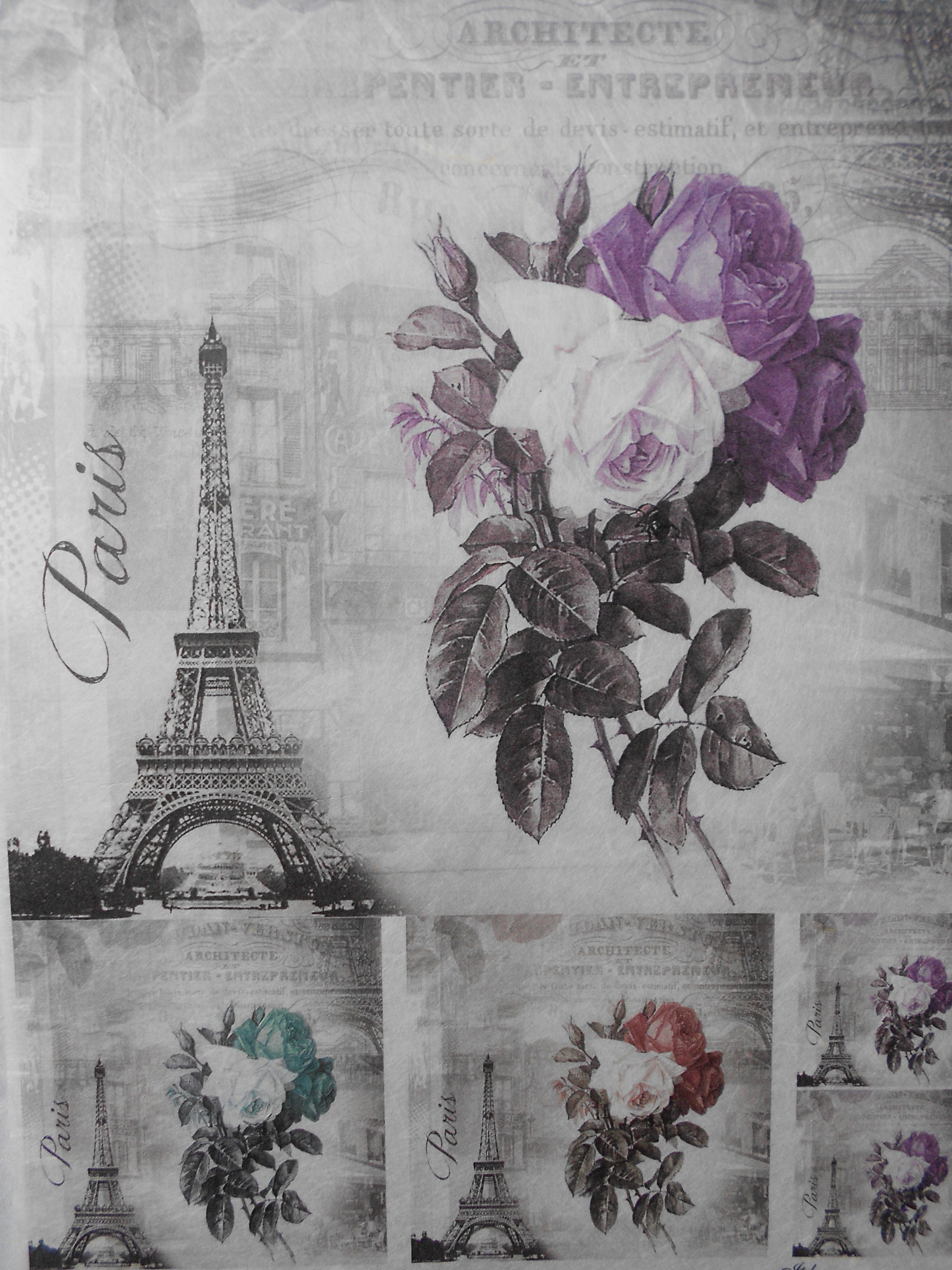Vintage Rice Paper for Decoupage Bicycle Paris Tower