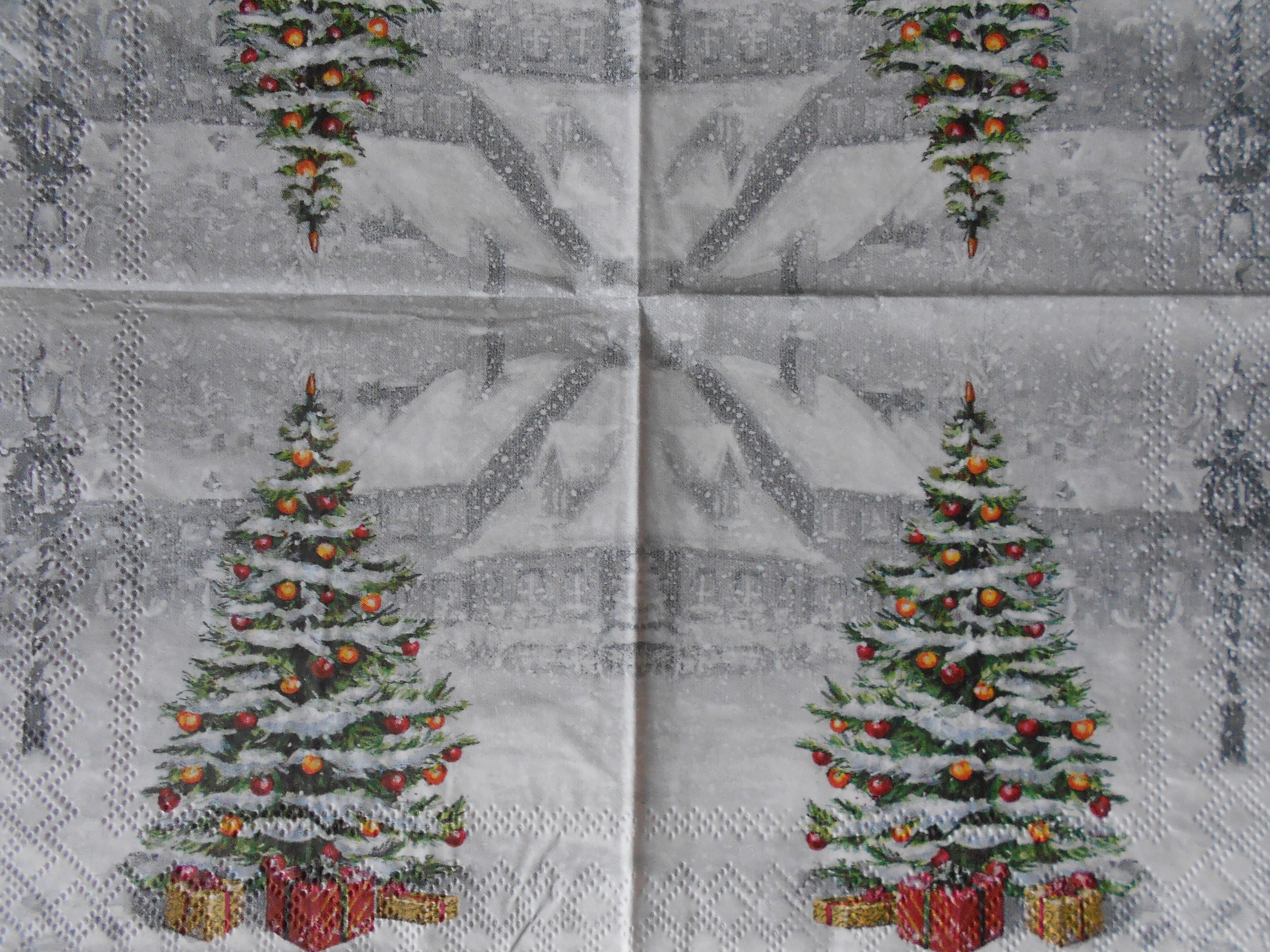 Decorated Christmas tree gift boxes decoupage napkins