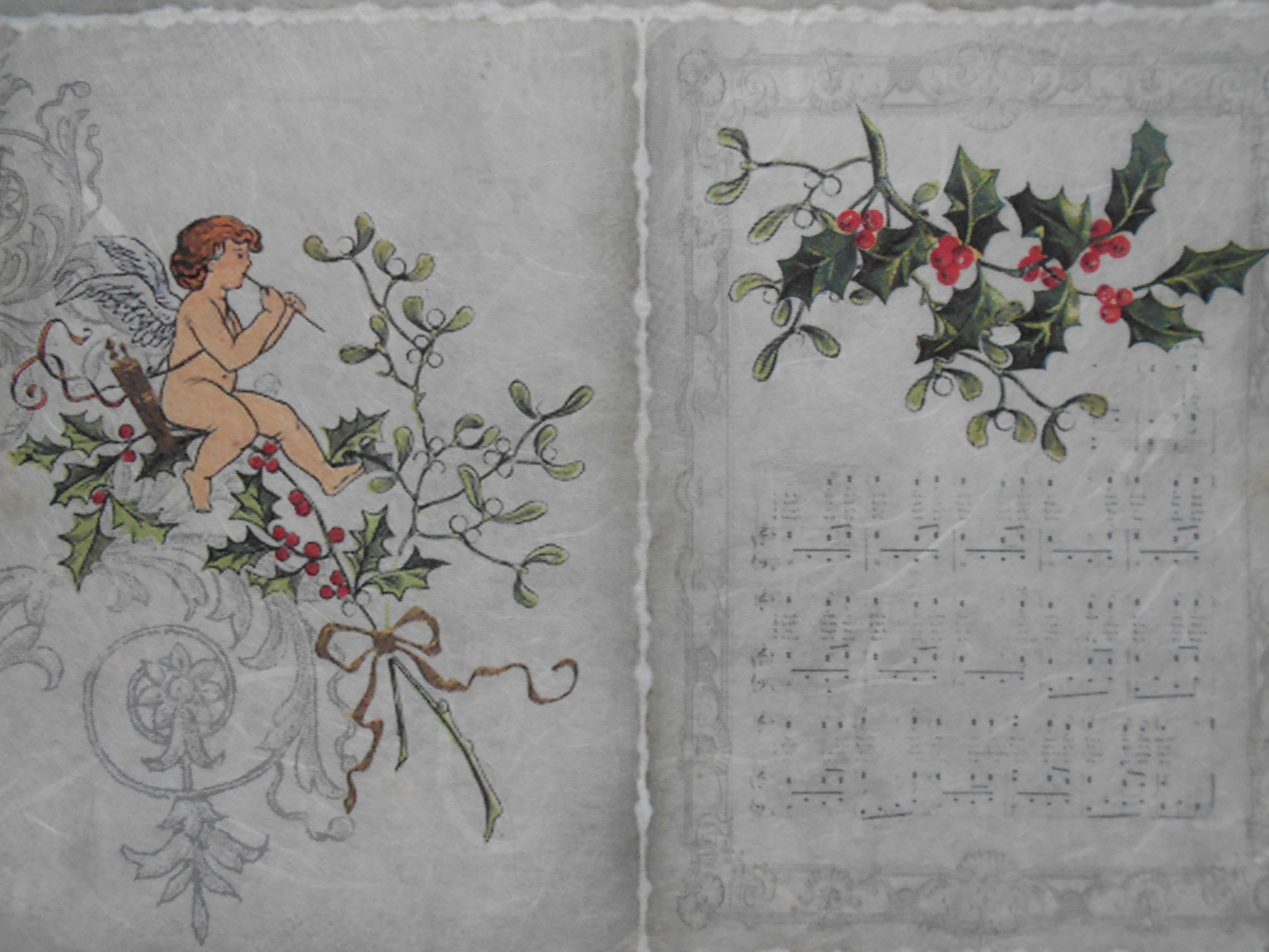 Angel Playing Pipe Christmas Wreath Decoupage Rice Paper