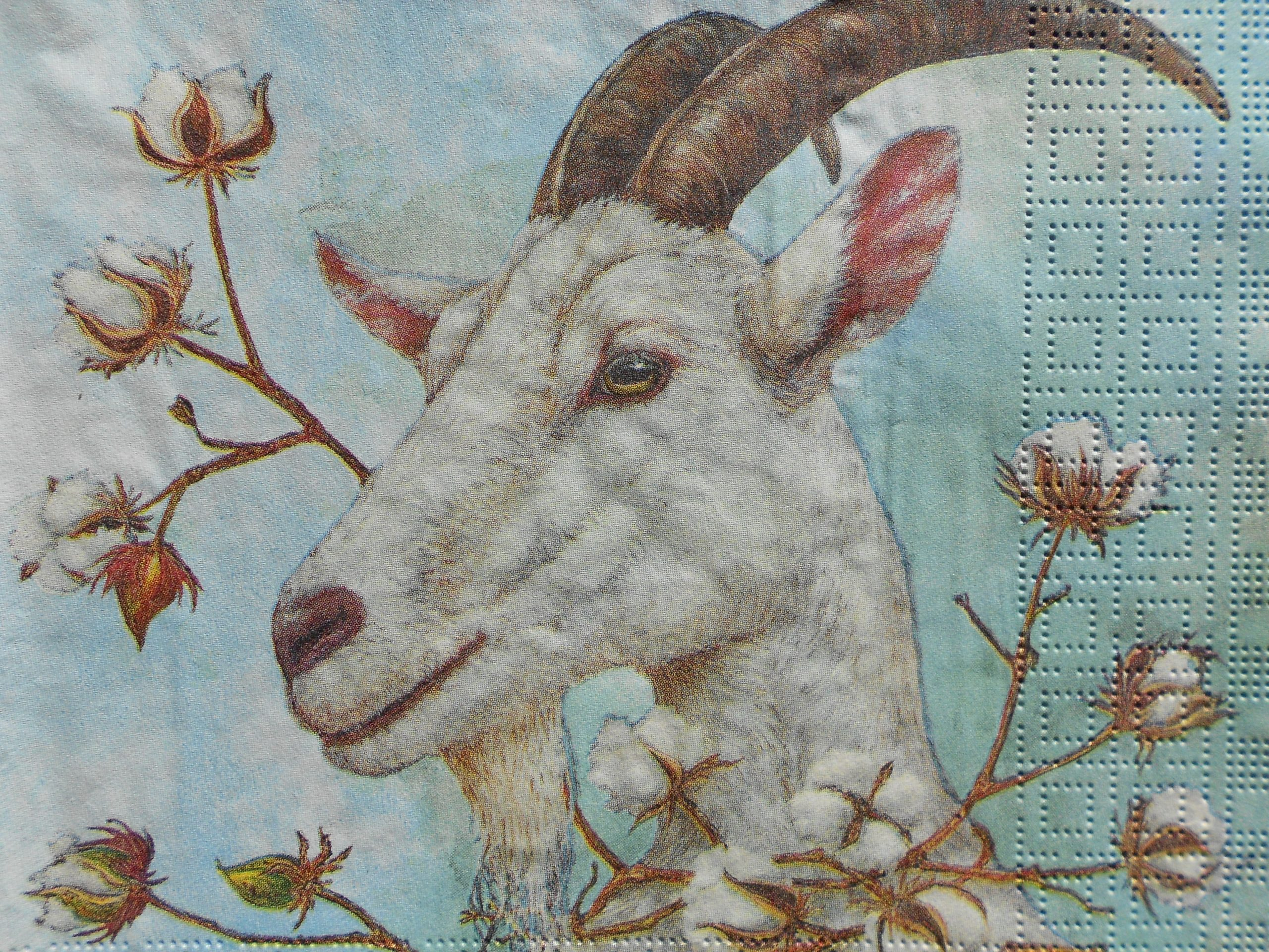 White Goat Cotton Buds Decoupage Paper Napkins Decoupage Paper